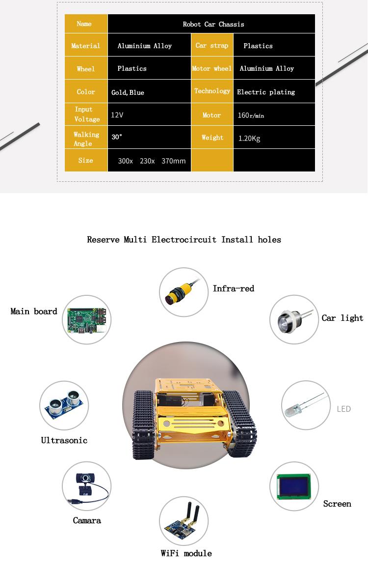 Xiao R DIY Self-assembled Aluminium Alloy RC Wifi Robot Car Chassis Kit Set