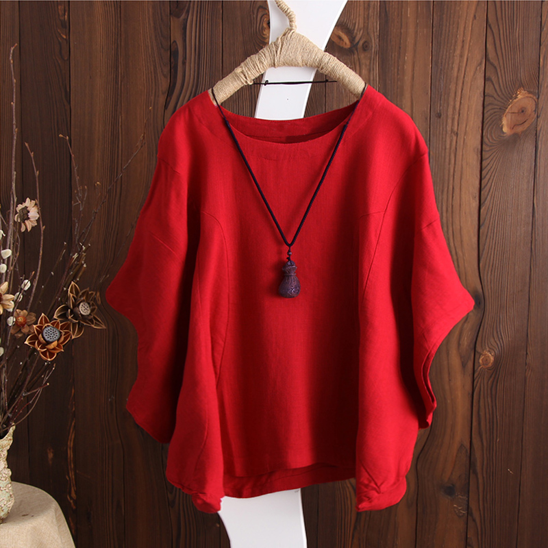 S-5XL Women Batwing Short Sleeve Cotton Tee Blouse