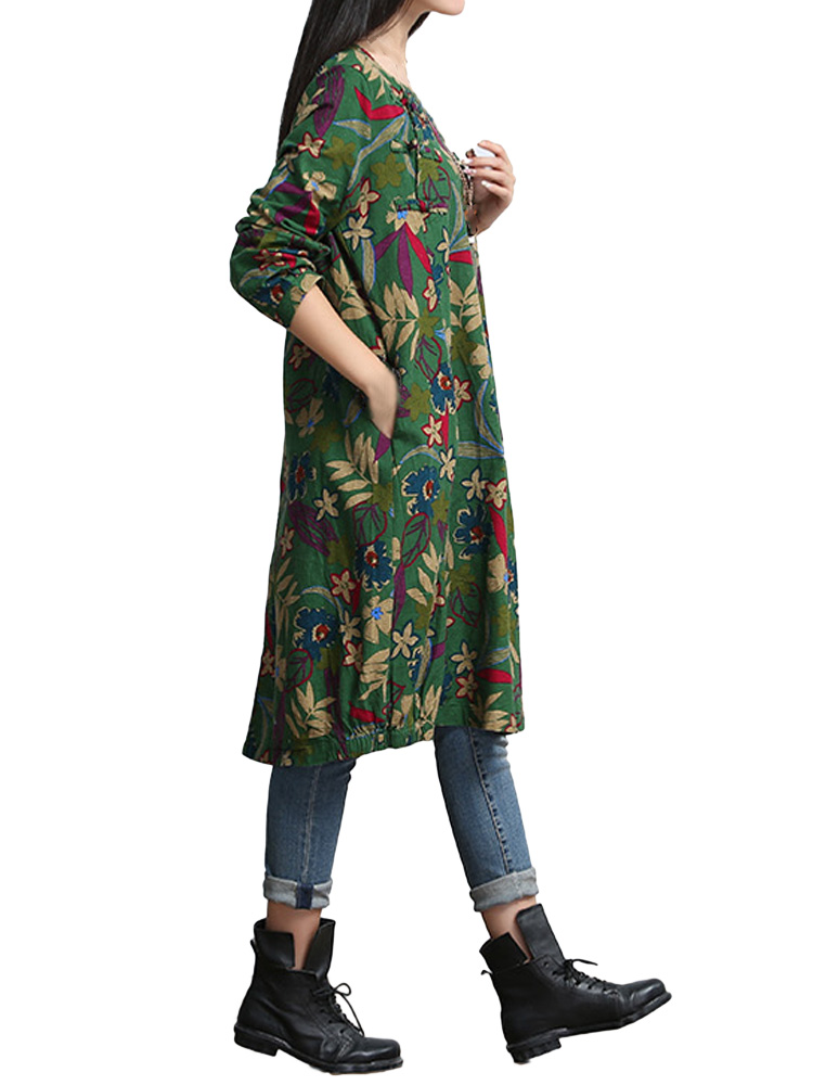 Chinese Style Button Vintage Retro Loose Floral Linen Dress