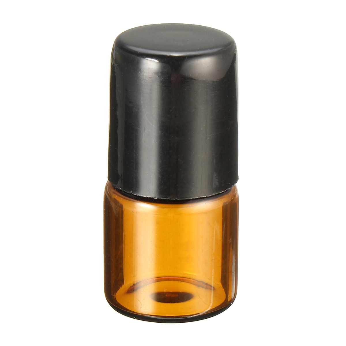 1mL Empty Amber Glass Roll on Bottle Refillable Metal Roller Ball Essential Oil Liquid Bottle
