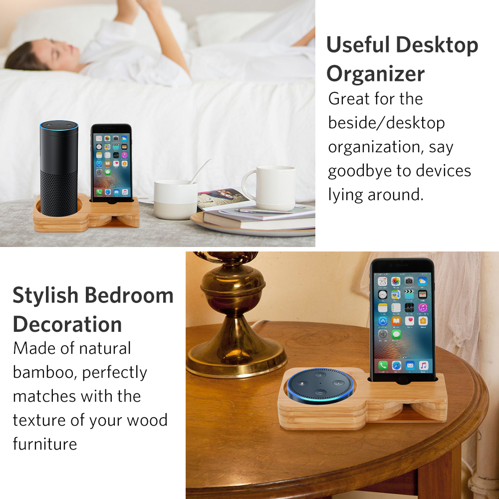 Bamboo Wooden Speaker Phone Charging Stand for Alexa Echo Dot Plus