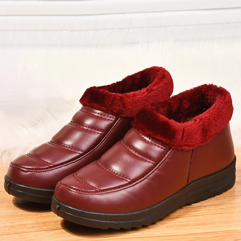 Warm Ankle Snow Boots Faux Fur Lining Round Toe Shoes