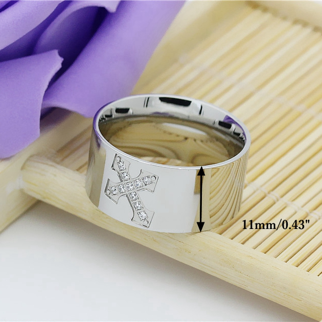 Cross Silver Casual Simple Polished Stainless Steel Men Ring