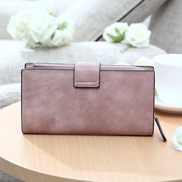 Women Matte Long Wallet Hasp Detachable Card Holder Coin Bags Clutches Bags