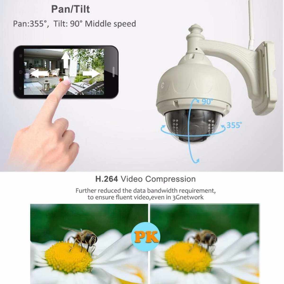 SP015 Outdoor Wireless WiFi 720P HD IP Network PT CCTV Security Camera IR Night Vision