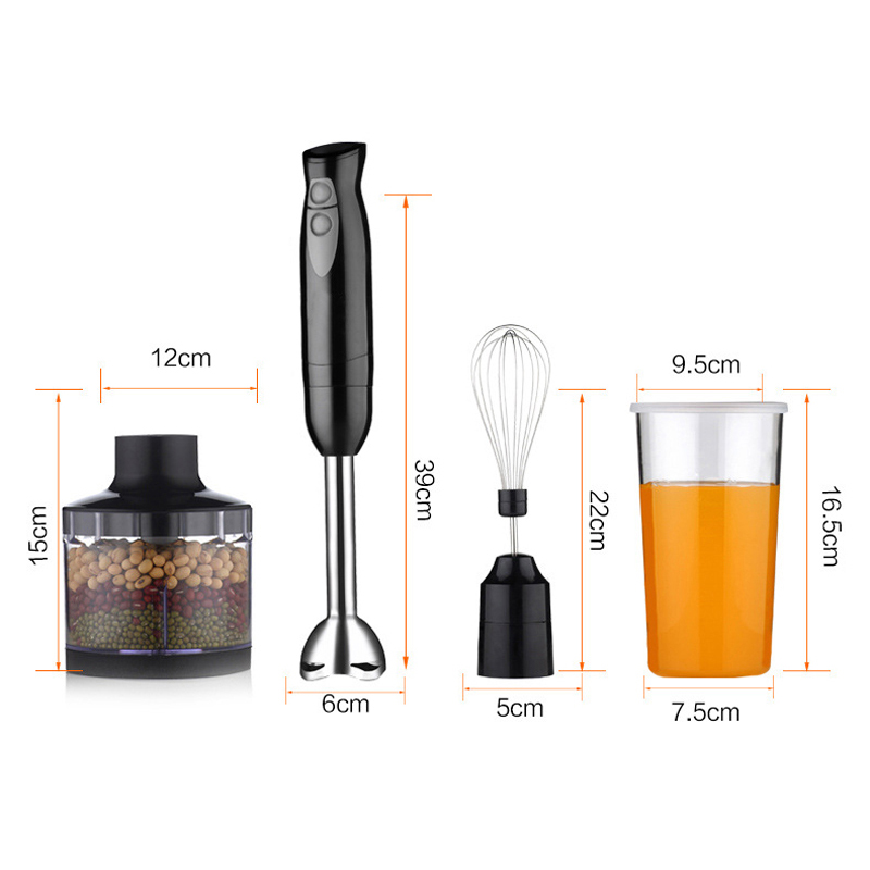 MENGDA M-06B 4 In 1 Electric Multifunction Hand Blender 2 Speed 450-Watt Set Whisker Food Machine
