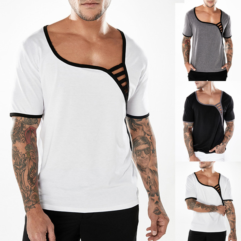 Men's Fashion Sexy Low Cut Short Sleeve T-shirts