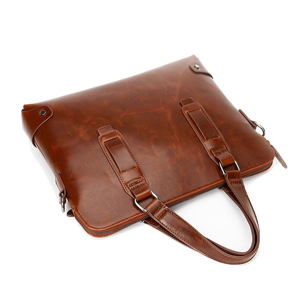 Vintage PU Leather Business Handbag Crossbody Shoulder Bag