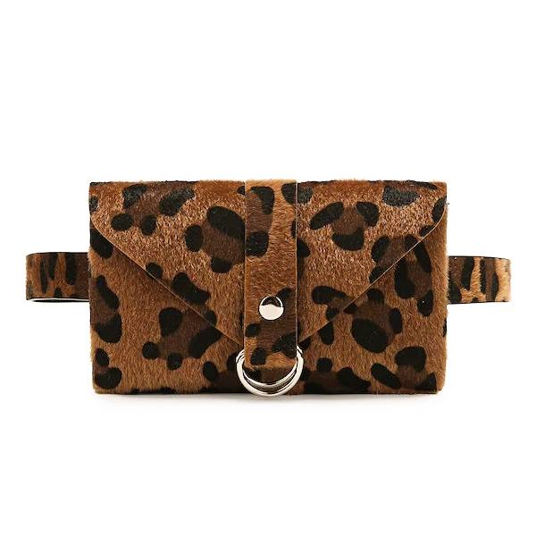Leopard Pattern Plush Waist Bag Phone Bag Chest Bag