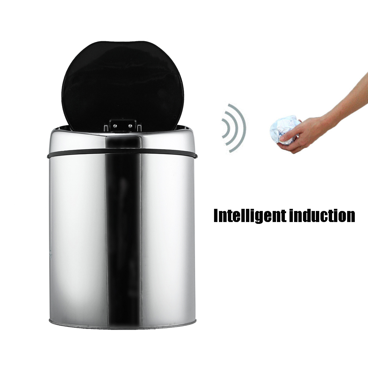 3/4/6L Stainless Steel Round Sensor Trash Can Touchless Motion Automatic Opening Recycler Waste Bins