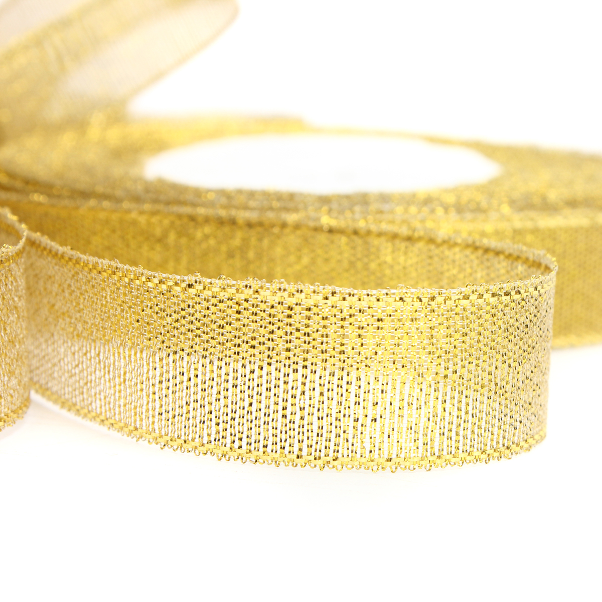 15mm 25 Yards Wire Edge Gold Silver glitter Effect Ribbon Wedding Party Gift Packing Accessories
