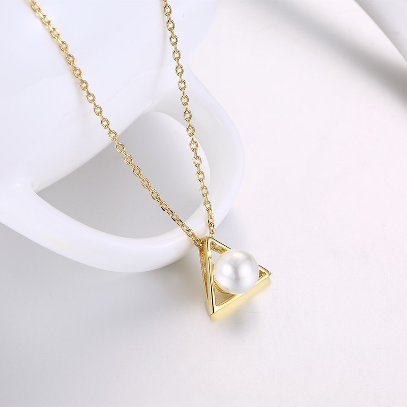 INALIS Trendy Pearl Pendant Triangle Gold Plated Necklace