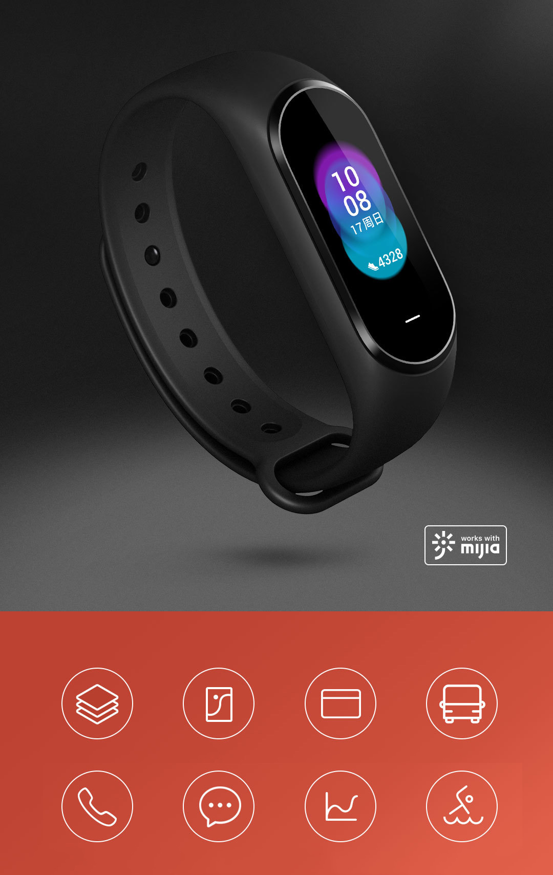 Original Heyjia B1800 0.95 Inch AMOLED Smart Watch NFC Long Standby Watch International Version