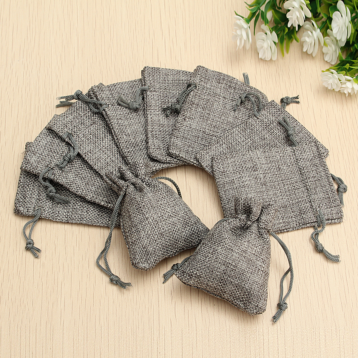 10PCS Grey Burlap Bags Jute Hessian Drawstring Sack Small Wedding Favor Gift