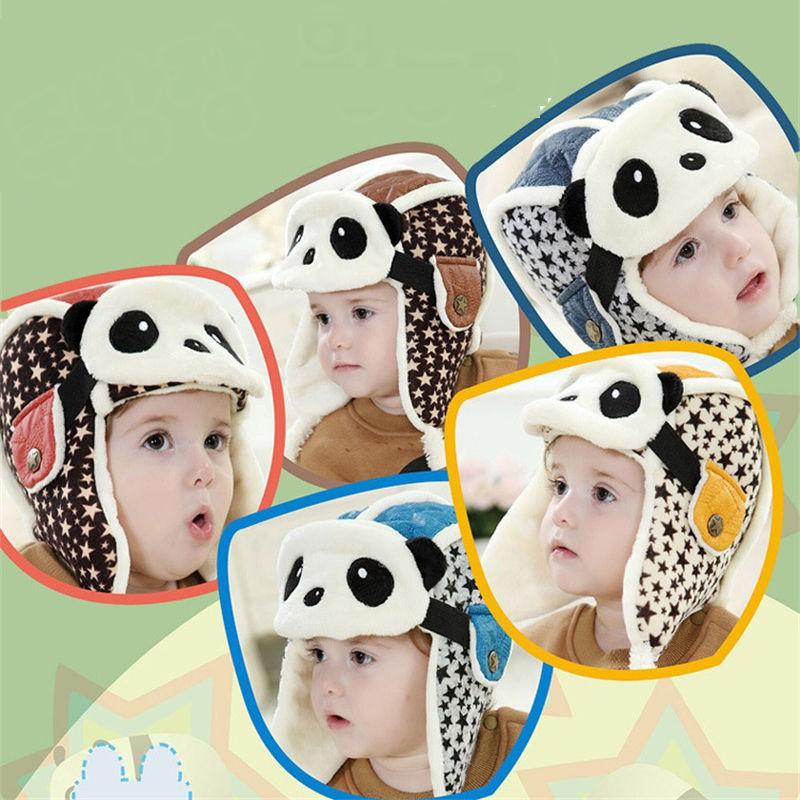 Winter Baby Kids Lovely Earflap Plush Panda Pilot Invierno Hats Aviator Hat Bomber Children Masks Caps Gorro