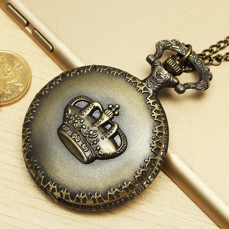 DEFFRUN Vintage Crown Retro Chain Quartz Analog Pocket Watch