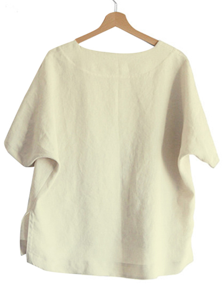 M-5XL Casual O-neck Short Sleeves Solid Color Blouse