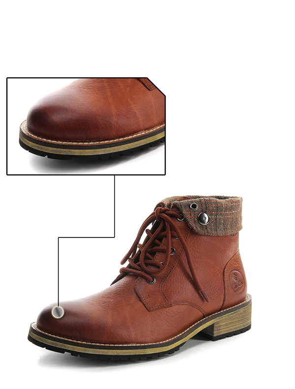 Brown Casual Leather Boots Short Boots Shoes Winter Warm Motorcycle Riding 39-45 For
