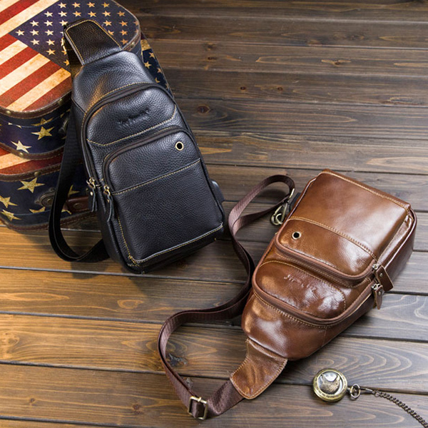 Men Cowhide Genuine Leather Chest Bag Leisure Crossbody Bag