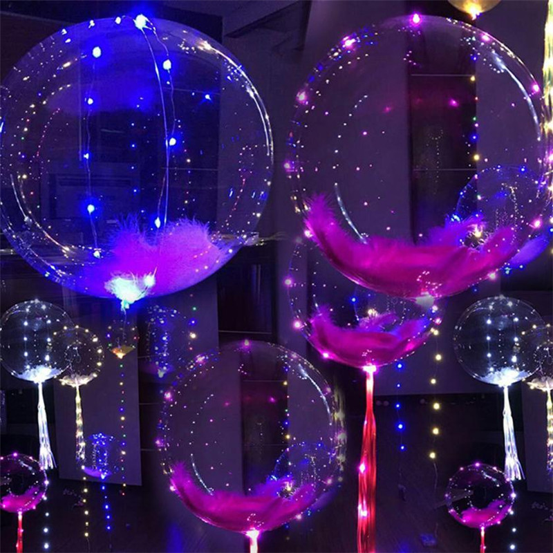 Luminous Led Balloon Transparent Round Bubble Decoration Party Wedding
