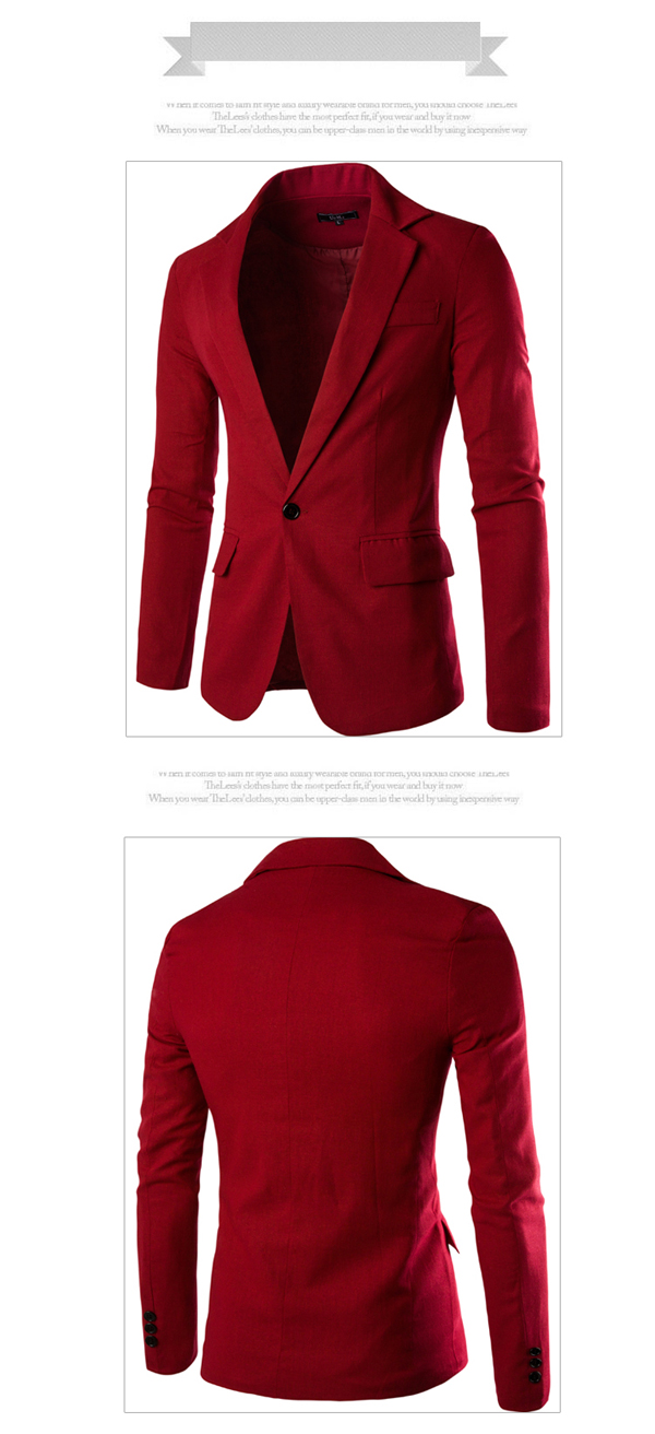 Mens Fashion Casual One Button Pocket Solid Color Slim Fit Suit Spring Autumn Coat 8 Colors