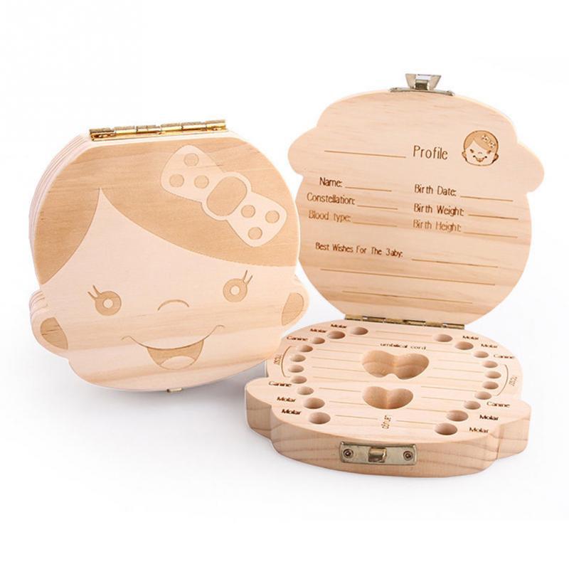 Baby Milk Teeth Wooden Storage Case Save Box Hair Holder Organizer for Girls Boys New Tooth Organizer Holder Gift Spanish English