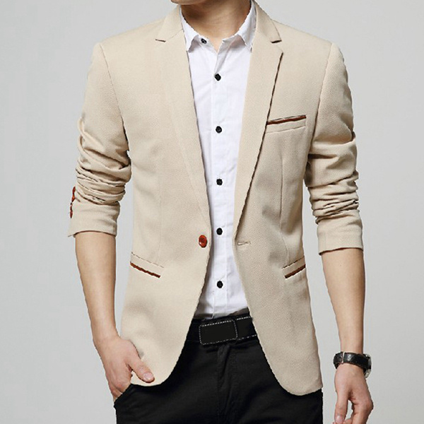 Mens Casual Autumn Spring Korean Slim Small Suits Business Jacket One Button