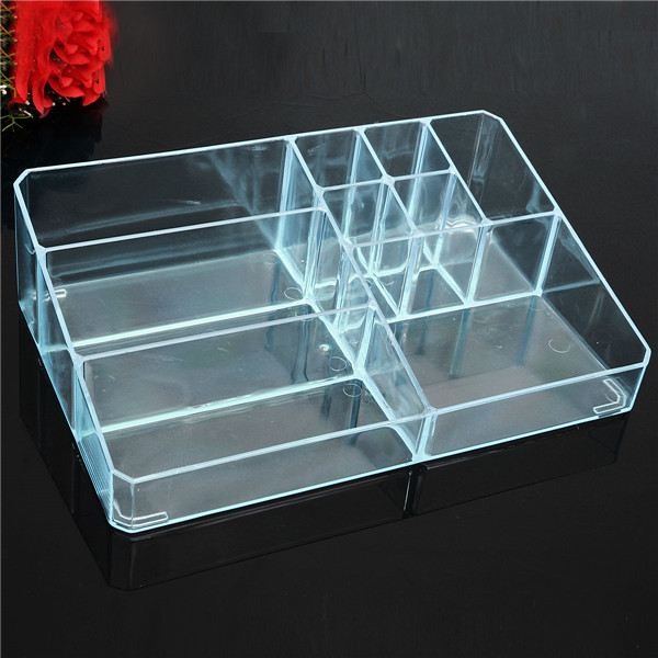 5 Colors Transparent Large Makeup Desktop Storage Plastic Cosmetics Organizer Holder Box