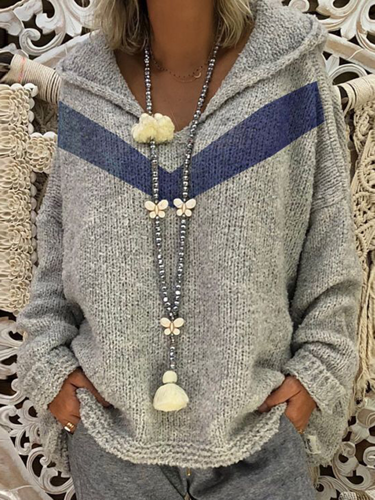 Фото #1: Women Casual Hooded Knitted V-Neck Long Sleeve Sweaters