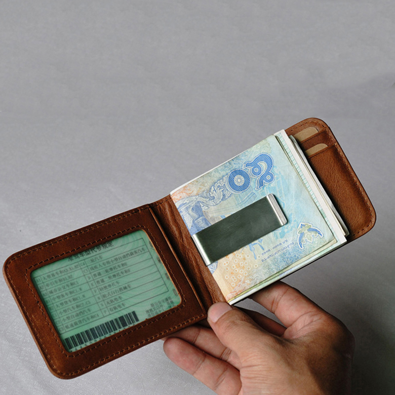 Slim Genuine Leather Money Clip Vintage Billfold Wallet