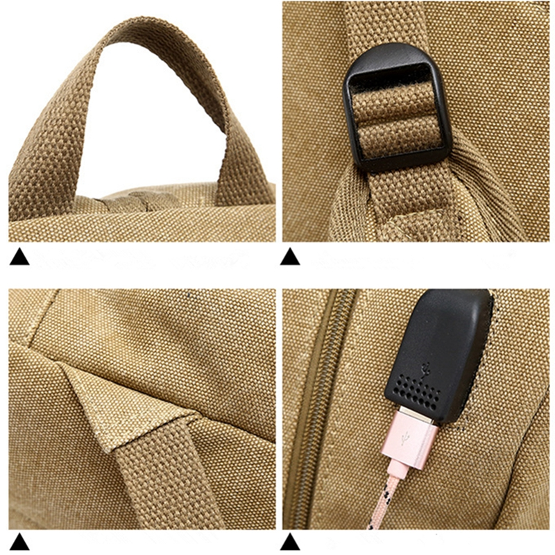 Men's Women's Waterproof Canvas Laptop Backpack Bag With External USB Charging Port