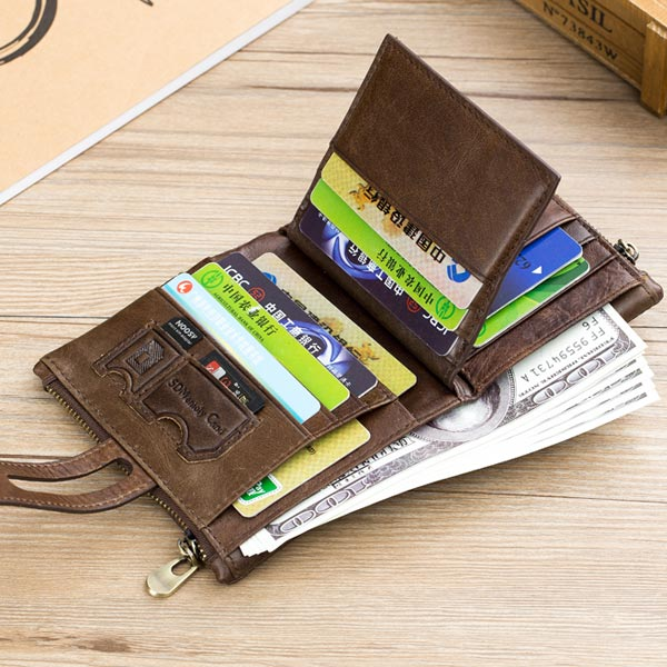 Bullcaptain RFID Wallet Vintage Genuine Leather Wallet