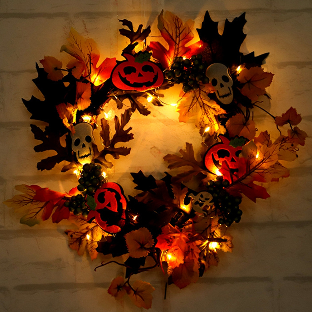 20LED Halloween Party Wreath Garland Light Home Wall Hanging Decorations Ornaments