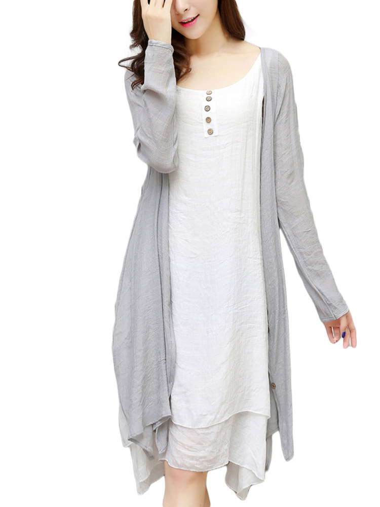 Casual Two Piece Linen Candy Color Long Sleeve Women Maxi Dress