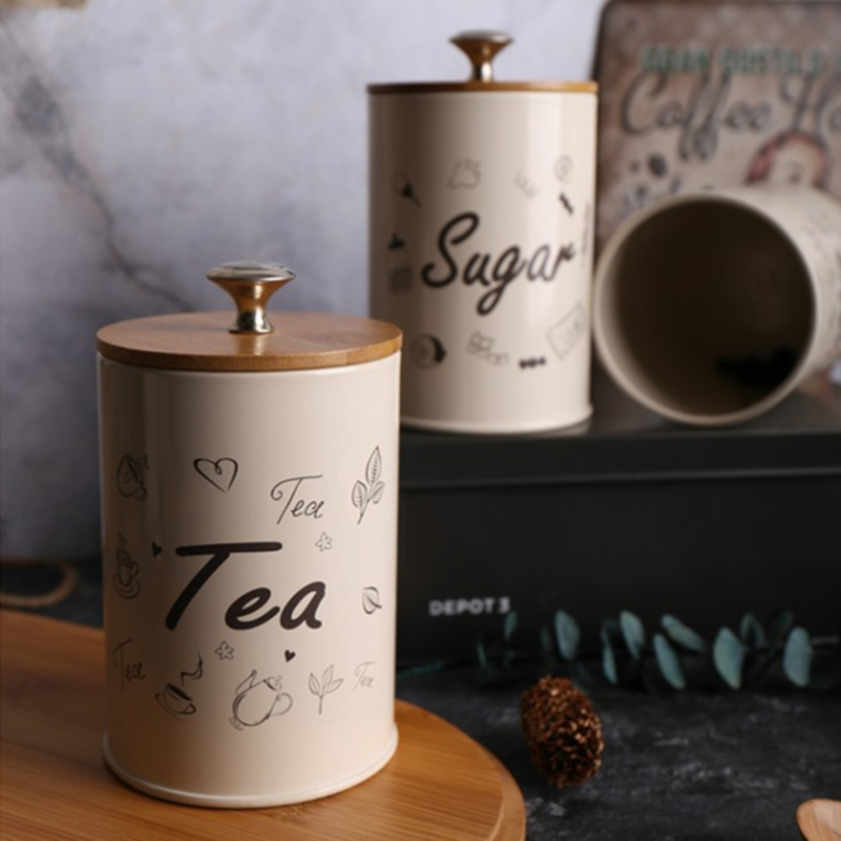 3PCS Retro Tea Coffee Sugar Kitchen Storage Container Canisters Jars Pots Tins