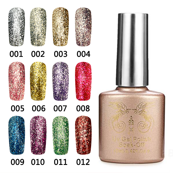 12 Colors Bright Diamond-sliver Glitter Micro Grain Nail Art UV Gel Polish Gorgeous Soak Off