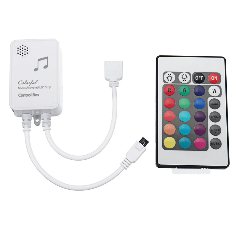4Pins Music Sound Sensor Controller + 24 Keys Remote Control For RGB LED Strip TV Backlight DC5V