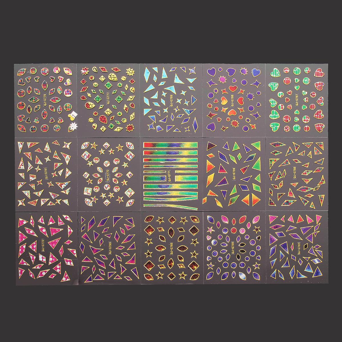 3D Irregular Broken Glass Nail Art Transfer Sticker Design Manicure Tips Decal Decoration