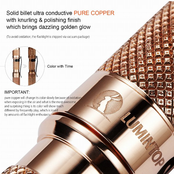 LUMINTOP Copper Tool XP-G2 R5 & Nichia LED 110LM Mini Keychain Light EDC Flashlight