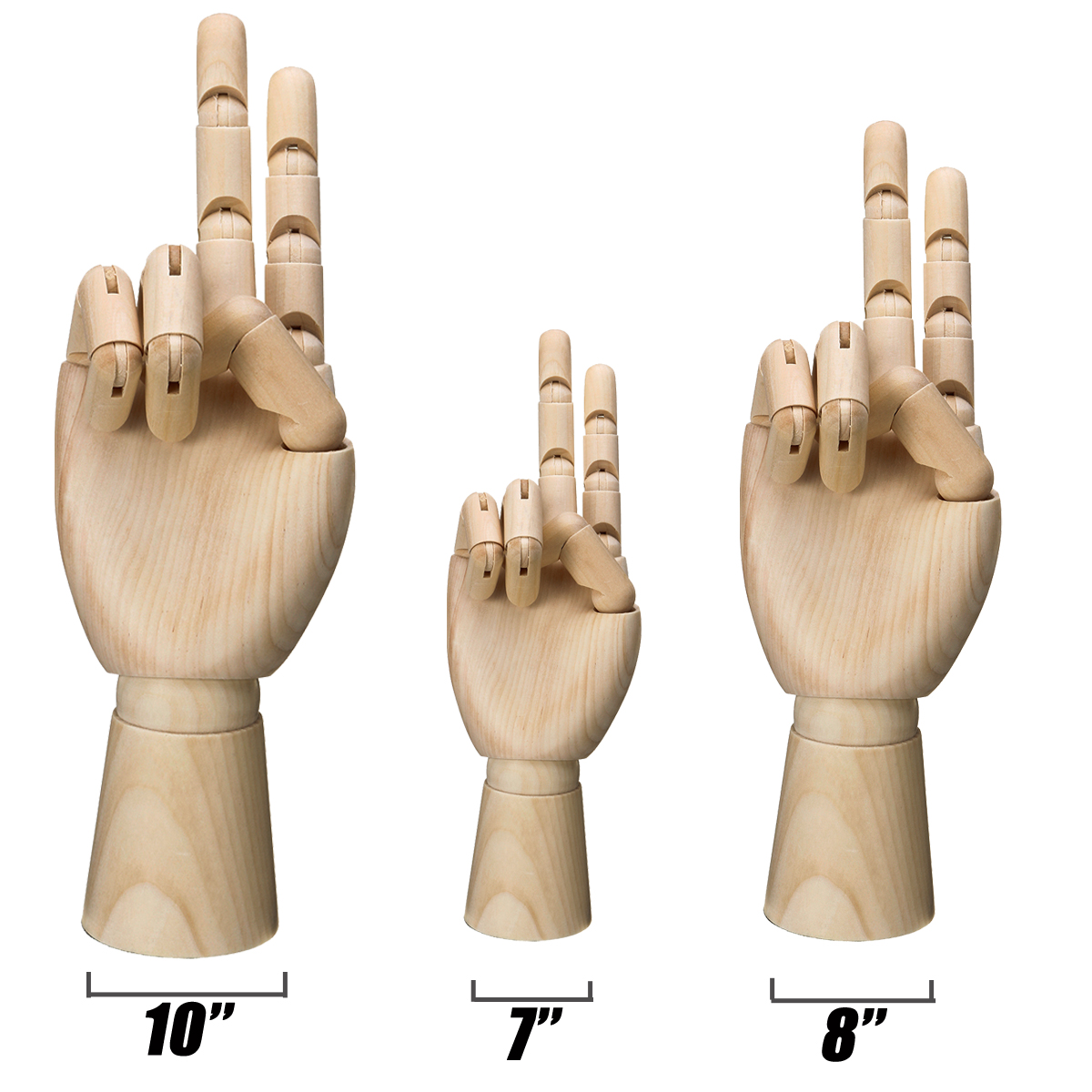 7/8/10/12 Inch Wooden Hand Body Artist Medical Model Flexible Jointed Wood Sculpture DIY Education