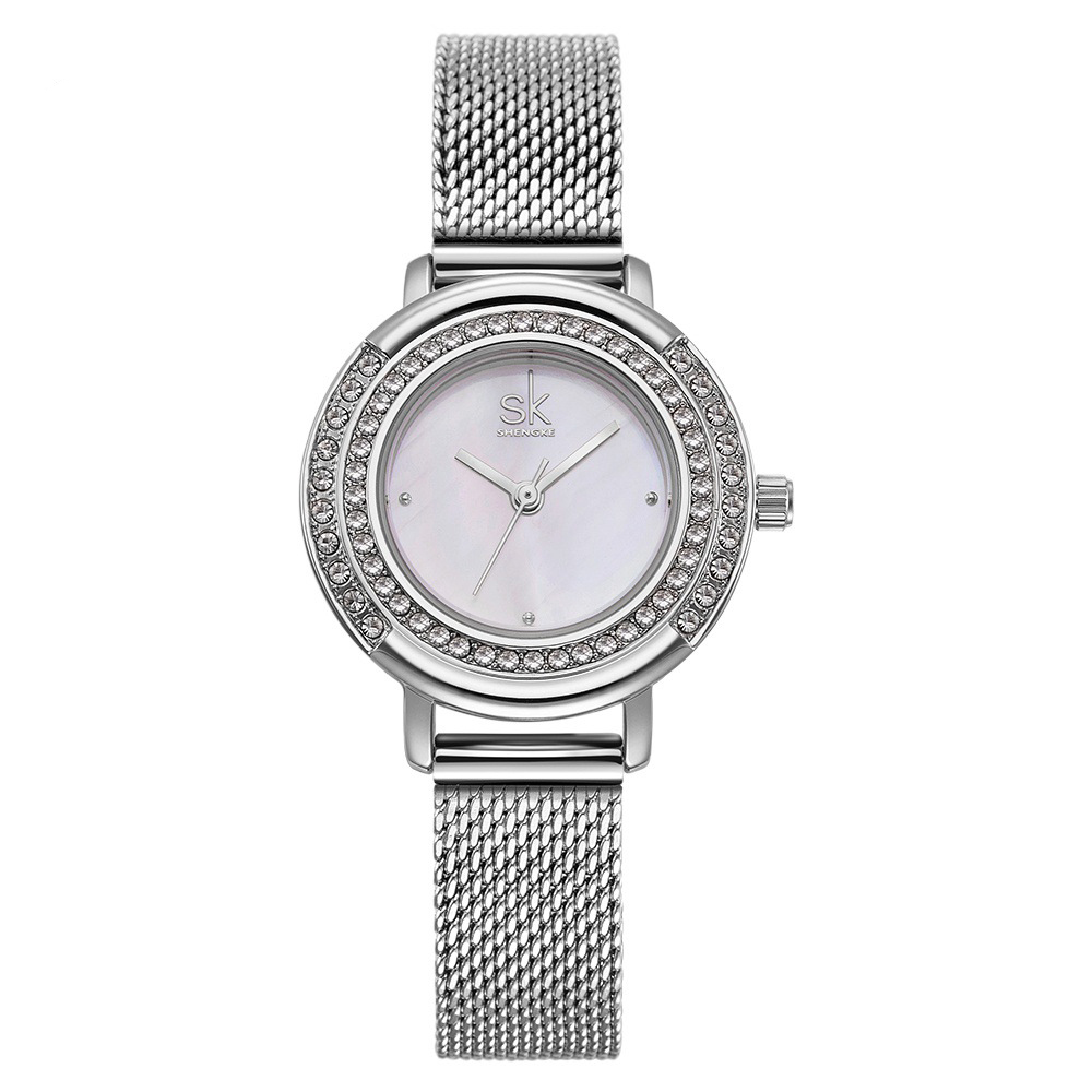 SK K0076 Full Steel Crystal Women Wrist Watch Shining Casual Style Quartz Watches