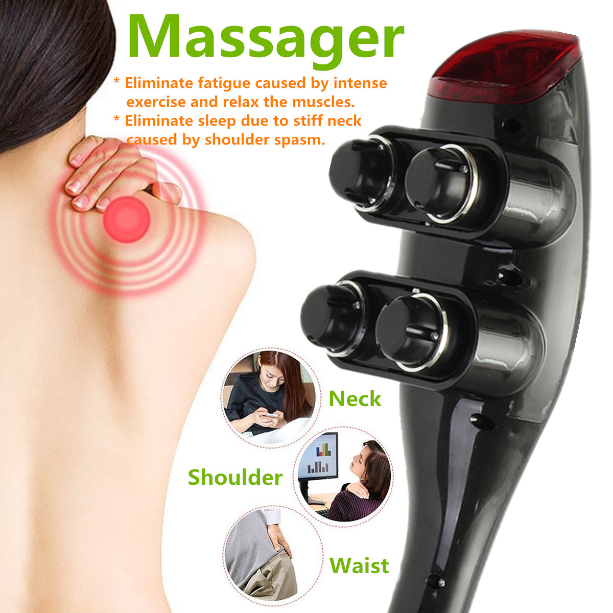 Far Infrared 4 Heads Multifunction Handheld Massager With 12 Attachments Full Body Massage Stick