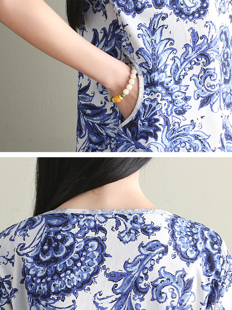 Ethnic Women V-Neck Floral Printed High Low Dress