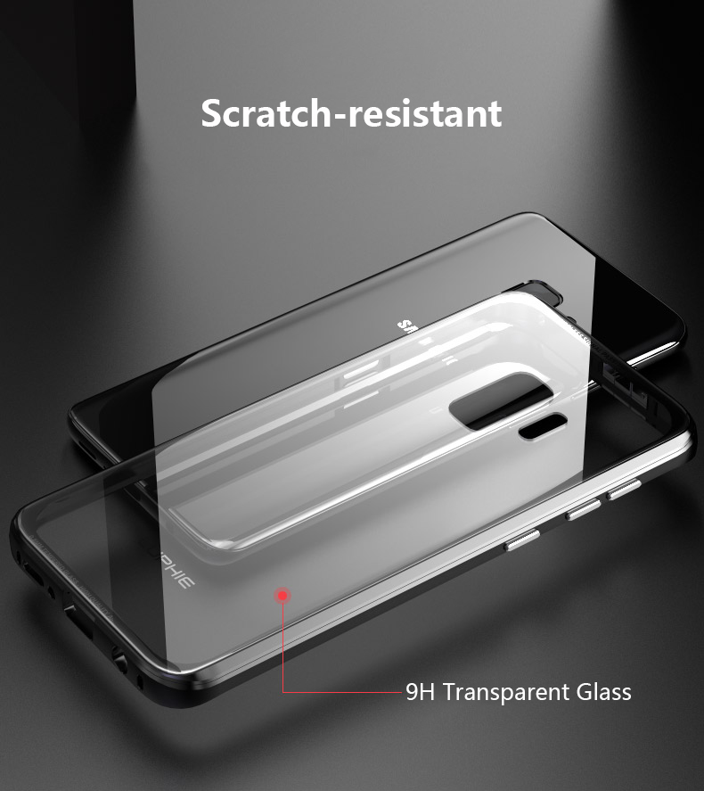 Luphie Metal Bumper+9H Transparent Tempered Glass Shell Protective Case For Samsung Galaxy S9 Plus
