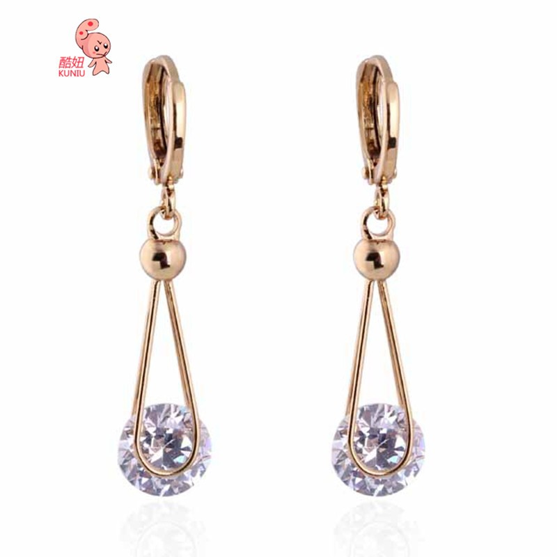 Kuniu 18K Gold Plated Crystal Zircon Dangle Earrings Women Jewelry