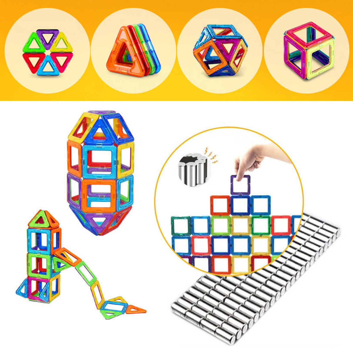 113 Pieces Kids Magnetic Toys Magnet Tiles Kits Blocks Building Toys For Boys Girls