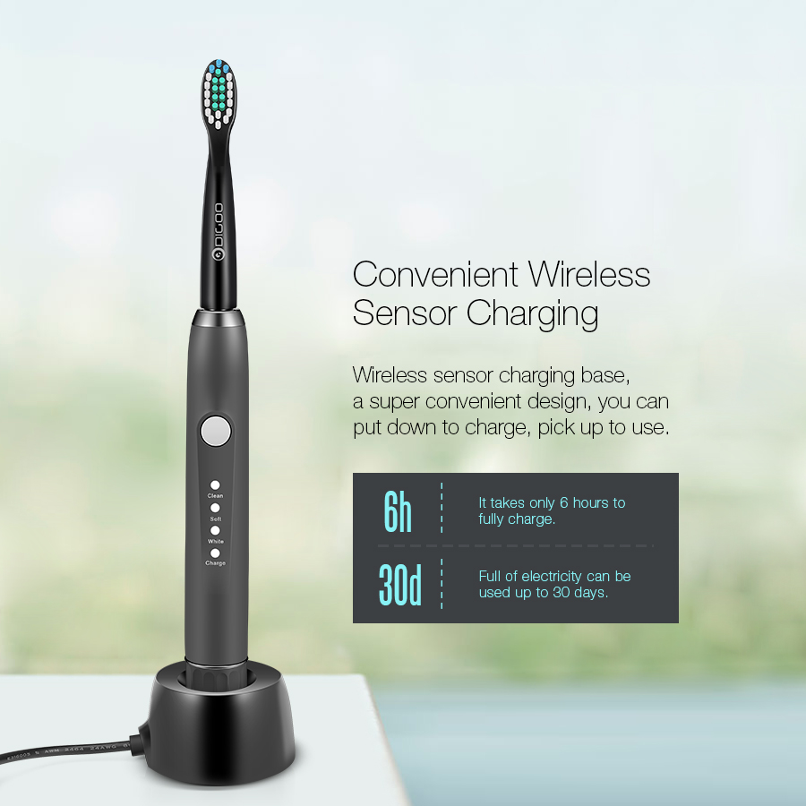 [2019 Third Digoo Carnival] Digoo DG-YS33 3 Brush Modes Essence Sonic Electric Wireless USB Rechargeable Toothbrush IPX7 Waterproof With 2 Toothbrush Head