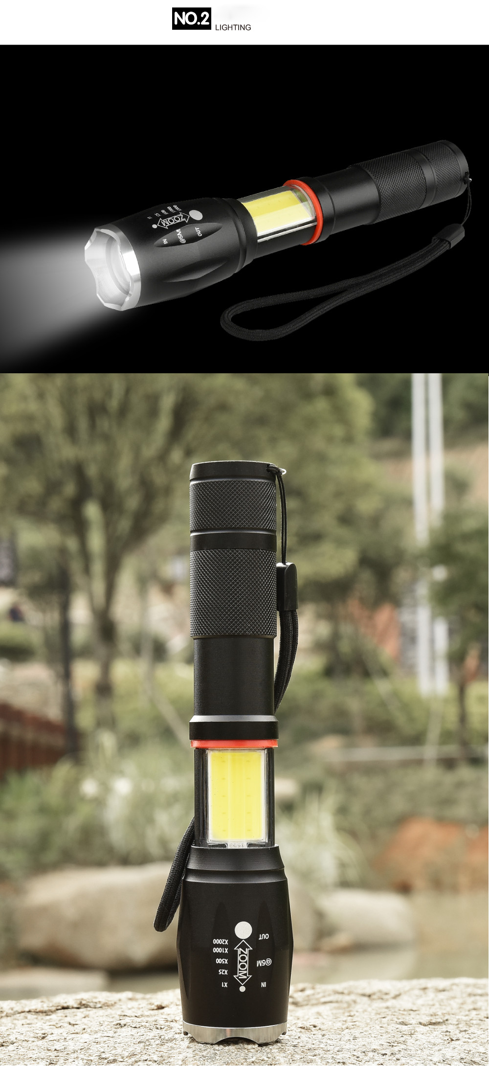 XANES 1005A T6 + COB 1000Lumens 5Modes Front & Side Lights Zoomable Tactical LED Flashlight with Magnetic Tail