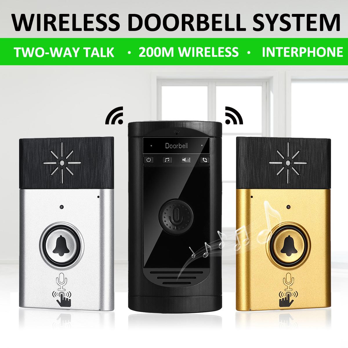H6S Wireless Voice Intercom Doorbell Two-way Interphone 200m Distance LED Indicator