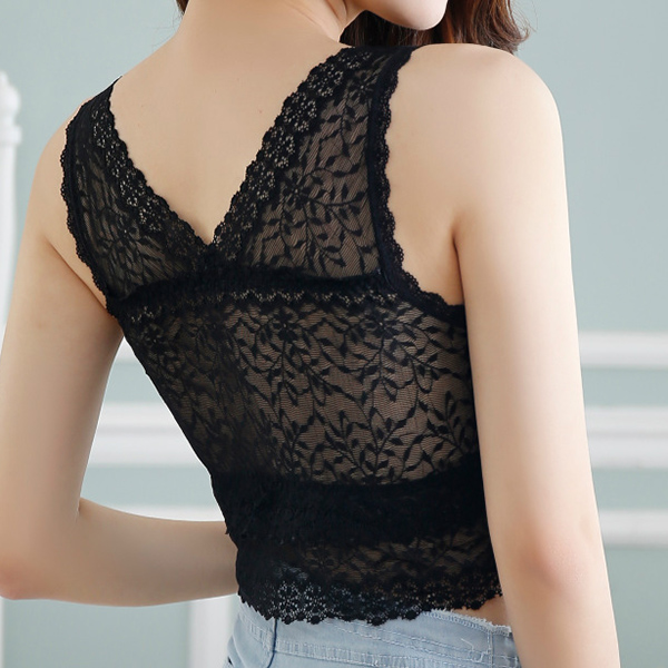 Crocheted Lace Seamless Comfortable Full Coverage Crop Tops Vest Bras